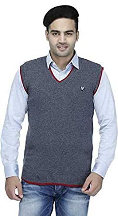 """Super weston Sleeveless Regular Fit Sweater for Men,100% Wool Sweater,Office Use Sweater,Colour and Size Choose According 6 Colour Available M=38"""",L=40"""",XL=42"""" (Grey, Small)"""