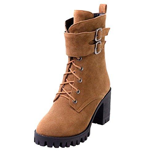 Mee Shoes Damen chunky heels Plateau mit Schnürsenkel Stiefel Braun