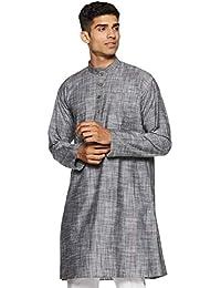Manyavar Men's Mid-Thigh Cotton Kurta