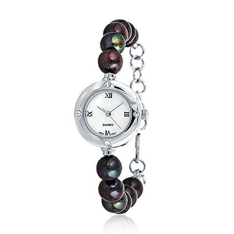 Bling Jewelry 8mm cultivées en eau douce Peacock Pearl cristal plaqué rhodium Watch