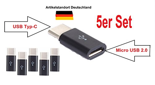 USB Adapter Typ-C Stecker auf Micro-USB Buchse OTG-fähig 5er Set für MacBook Pro MacBook ChromeBook Pixel Nexus 5X Nexus 6P Nokia N1 OnePlus 2 Adapter Konverter Daten Kabel Ladekabel (5 x schwarz) Mini-usb-pda-smartphone
