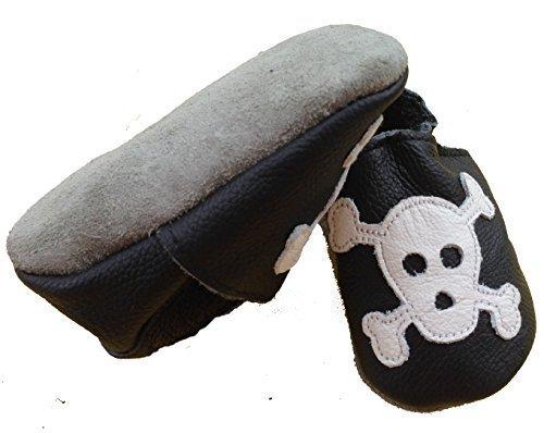 coolMYP©chromfreie Krabbelschuhe Baby Schuhe Lederschuhe ohne Chrom Lernlaufschuhe mit verschiedenen Motiven schwarz-Jolly Roger