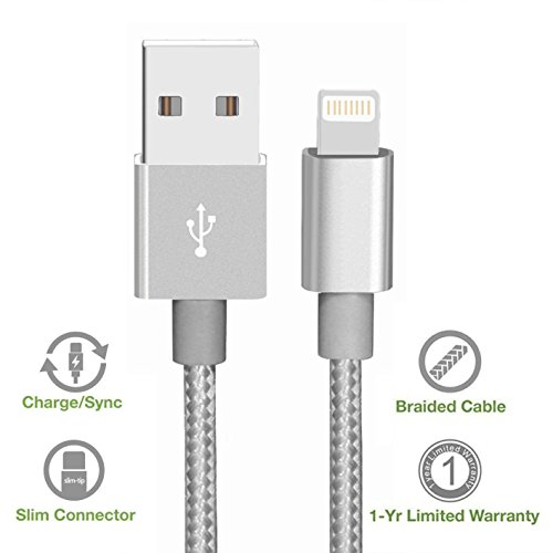 eyesworld iPhone Kabel, 6 ft/2 M Nylon geflochten Lightning to USB Kabel Ladekabel, Ultra-High-Lebensdauer Sync und Lade USB Kabel Für iPhone SE 7 7plus 6 6Plus 6S 6S Plus 5S 5 C 5, iPad Air Air 2 Mini2 Mini3, 4., iPod Nano, iPad Pro und mehr (grau) (Nylon 2m) (Geflochten Usb 6ft)