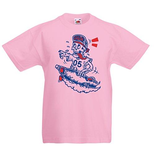en T-Shirt der Schädel Skater, Skate-Ausrüstung, Skateboarder, Street Urban Clothing, Coole Geschenke Idee (3-4 Years Pink Mehrfarben) (Blinde Fledermäuse An Halloween)