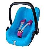 ByBoom Housse d'été universelle en coton pour siège auto ou cosy, par ex. Maxi Cosi CabrioFix, City, Pebble - Conçu en Allemagne, fabriqué dans l'UE, Bleu