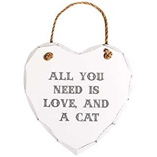 Sass & Belle All You Need is Love and A Cat Heart Plaque, White