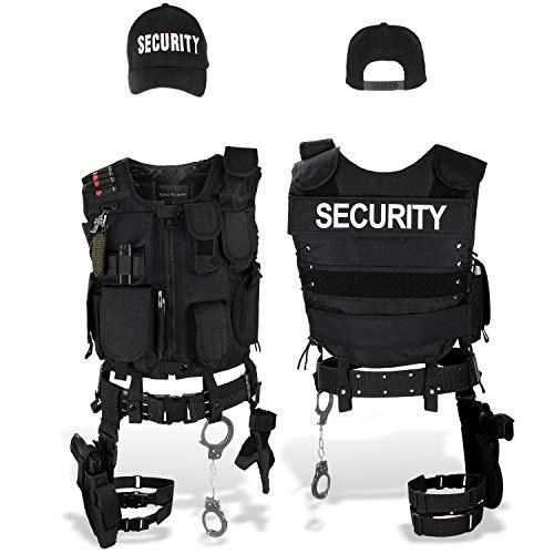 Black Snake SWAT FBI Police Security Kostüm inkl. Einsatzweste, Pistolenholster, Handschellen und Baseball Cap - M/L - Security