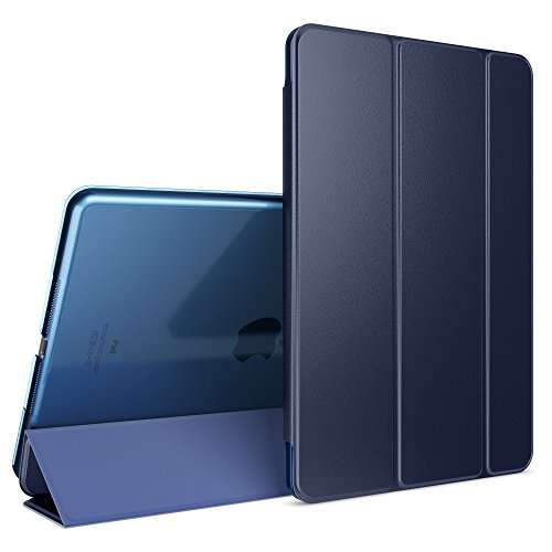 NALIA Smart-Case kompatibel mit iPad Air 1, Ultra-Slim Cover Dünne Tablet Schutzhülle, Kunst-Leder Hardcase Multi-Ständer Tasche, Display-Schutz & Backcover Flip-Case Klapphülle Sleeve - Dunkelblau -