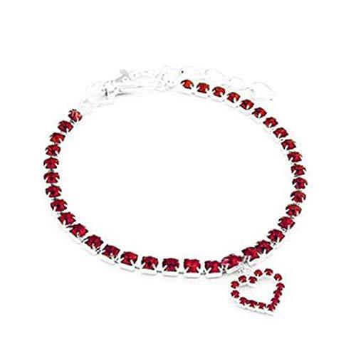 Beishengda New Pet Dog Crystal Juwel Diamond Heart Rhistone Anhänger Halsband(None L Red Large)
