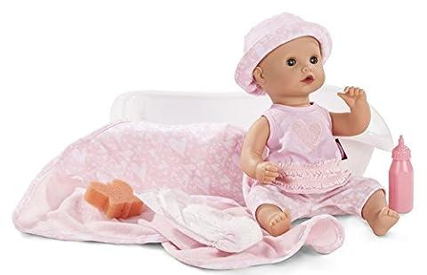 Götz 1653131 Sleepy Aquini Mädchen - Hearts - 33 cm großes Badebaby mit blauen Schlafaugen, ohne Haare in einem 10-teiligen Set mit Badewanne, Fläschchen und Badetuch - geeignet für Kinder ab 3 Jahren