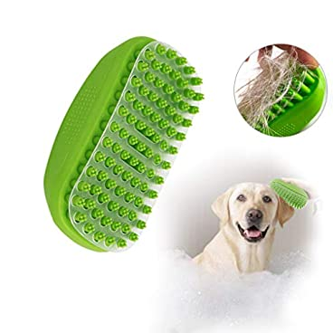 Andiker Pets Shower Brush with Transparent baffle Easy to Remove Shed Hair Bath Grooming Comb Tool Made of Soft Rubber (Green)