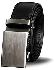 L-MEIQUN,Cinturón automático de Cuero Hebilla Casual Moda Negocio Pantalones(Color:Negro,Size:125 cm)