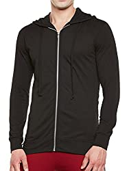 Gritstones Black Full Sleeves Hooded Zipper Jacket for Men GSJKT1502BLK_L