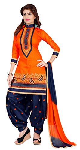 Vaidehi Fashion Womens Cotton Orange color Salwar suit Dress Material