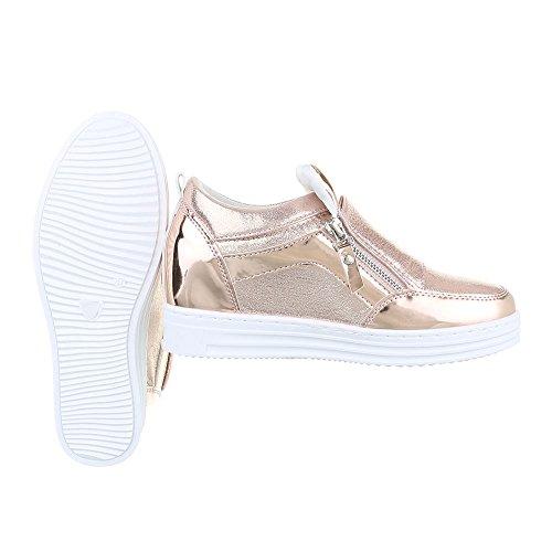 High-Top Sneaker Damenschuhe High-Top Moderne Reißverschluss Ital-Design Freizeitschuhe Rosa