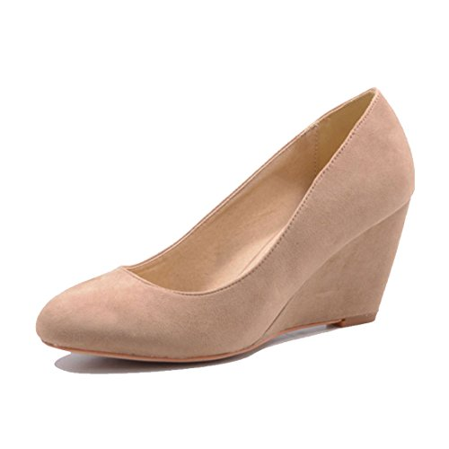 Jumex Damen Keilabsatz Pumps Sommer Schuhe in Kunstleder Wildlederoptik Khaki