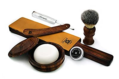 Shaving Brush,Leather Strop, Wooden Bowl ,Soap & Leather Strop Paste.
