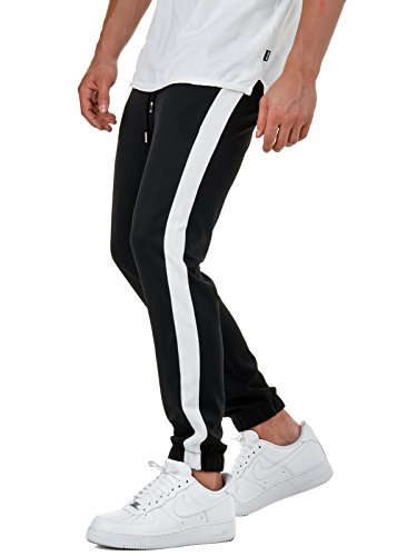 EightyFive Herren Jogging-Hose Stripe Pants Slim Fit Sweatpants Streifen EFJ1296, Farbe:Schwarz, Hosengröße:S (Stripe Slim Pant)