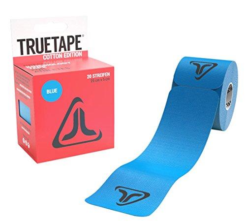 TRUETAPE Cotton Edition | vorgeschnittenes Kinesiologie Tape | Physio-Tape | 20 Precut Streifen pro Rolle | CE-Zertifiziert | 40 Anleitungen | Blau