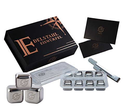 Le Flair Edelstahl Metall Whiskey Eiswürfel mit unglaublicher Kühlleistung - 8 Whisky Steine Ice Cubes