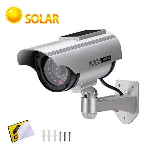 Alfaview telecamera finta telecamera di sorveglianza fittizia a proiettile alimentata a energia solare telecamera dome cctv di sicurezza con led lampeggiante per interni da casa (2 x pack)