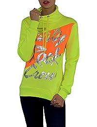 S&LU Damen Neon Sweatshirt Pullover mit Silber-Schriftzug in vielen verschieden Größen und 3 Farben