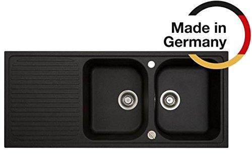 """Rieber Cora 200 graphit Riegranit 1160x500 mm Küchenspüle MADE IN GERMANY 2 Becken mit Abtropffläche 3,5"""" Körbchendrehexzenter schlag- und kratzfest langlebig Spülbecken Zubehör"""