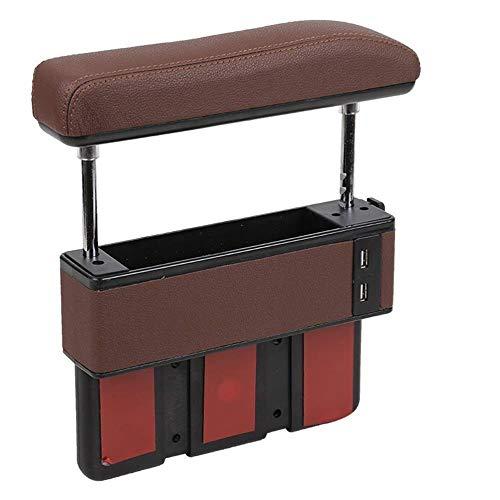 YxnGu Auto Armlehnenpolster Autozubehör Innenstütze Sitzabstand Aufbewahrungsbox Höhenverstellbarer Ellbogenschutz (Color : Brown)