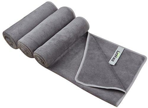 Kinhwa asciugamani fitness sportivi per palestra asciugamano in microfibra - sport, nuoto, viaggi, camping, spiaggia, bagno 3 pezzi grigio
