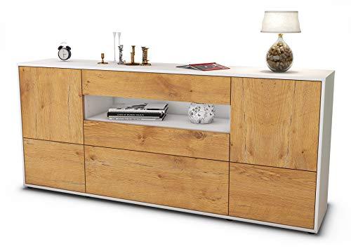 Stil.Zeit Sideboard Elvira/Korpus Weiss matt/Front Holz-Design Eiche (180x79x35cm) Push-to-Open Technik & Leichtlaufschienen
