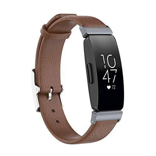 WAOTIER für Fitbit Inspire HR Armband Leder mit Litchi Muster Armband Kompatibel für Fitbit Inspire Armband und für Fitbit Inspire HR mit Edelstahl Verschluss Armbänder für Männer und Frauen (Braun)