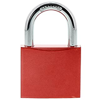 Burg-Wächter Blank Padlock Love Lock or Labelling, 6.5771For 40mm Shackle, 2Keys, Red