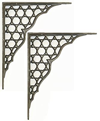 "Pair of Large 10"" x 8"" Cast Iron Honeycomb Shelf Brackets (250mm x 205mm) - cheap UK light store."