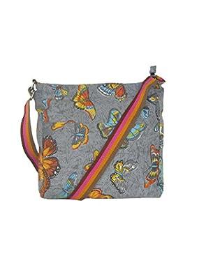 Veroli Women's Cross Body Bag - Butterfly Tote Beach & Shopper Cotton Fabric Bag - Canvas Travel Bag