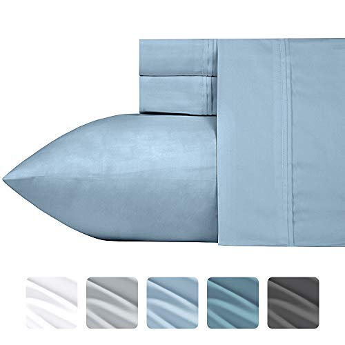 Luxuriös seidig weich 700 Fadenzahl-Bettlaken-Set, patentierte Baumwolle Rich Satin Technologie, knitterfrei (Pure weiß - Full), Baumwolle, Morning Blue, King Size -