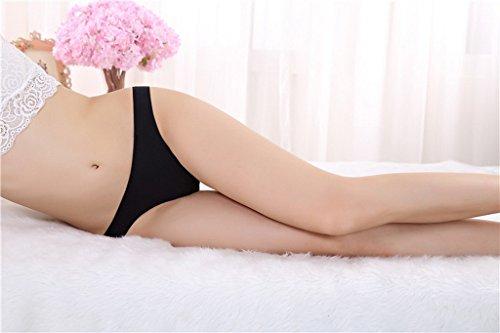 Bigood Culotte Coton Femme G-string Sans Couture Bikini Lingerie Erotique Souple Noir
