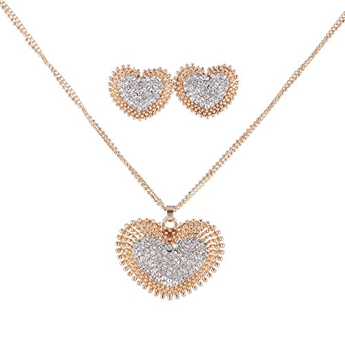 Best Valentine Gifts :YouBella Presents Gracias Collection Heart Shaped Crystal Jewellery Necklace Set / Pendant Set with Earrings for Girls and Women