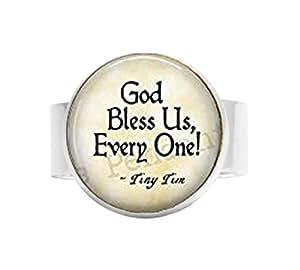 bab God Bless Us Every One-Tiny Tim Quote-A Christmas Carol Jewelry-Tiny Tim Pendant-Christmas ...