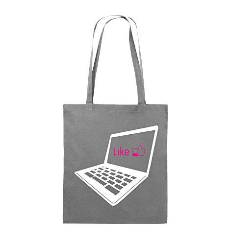 Borse Comiche - Mi Piace Il Laptop - Borsa In Juta - Manico Lungo - 38x42cm - Colore: Nero / Bianco-neon Verde Grigio Scuro / Bianco-rosa