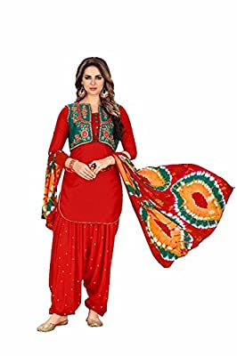 Fashion Stuff New Queen of Patiyala punjabi embroidery suits for women(1192_Red)