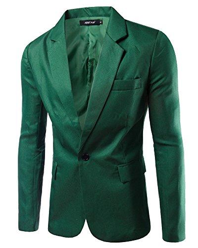 Slim Fit Uomo Casual One Button Elegante Vestito Di Affari Cappotto Giacca Blazers Erba Verde 2XL
