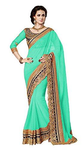 Jenny Fashion Women's Faux Georgette Saree (Jodha_Green,Green,Free Size)
