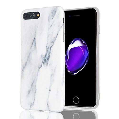 Cover iphone 7 plus Custodia iphone 8 plus Marmo Leton TPU Silicone Case Cover per Apple iphone 7 plus / 8 plus (5.5 pollici) Morbido Trasparente Flessibile Gel Copertura Shell Ultra Sottile Leggera D Bianco Nero