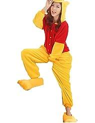 Pijama de una pieza unisex, diseño de Winnie Pooh, para invierno, de franela, azul, XL(173-180cm)
