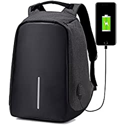 Anti-Theft Backpack with Usb – Zikken High-Capacity Travel Bags, School Bags, Laptop Backpack, with USB Charging Port (Schwarz)