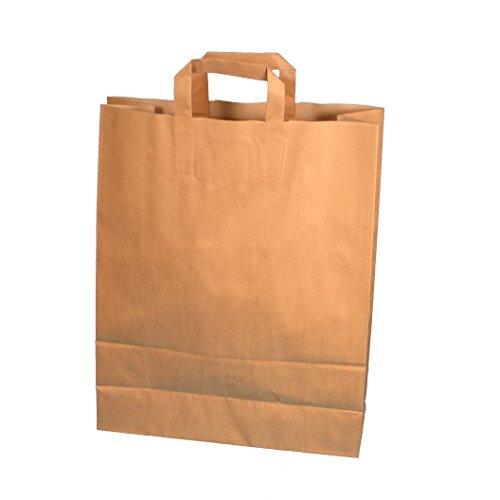 250 Papiertragetaschen Papiertüten Einkaufstüten Bio Tragetaschen braun Kraft mit Papier Flachhenkel verschiedene Größem (22+11x28cm)