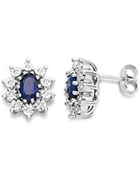 Miore Ohrringe Damen, Schmuck 925 Sterling Silber, Ohrringe mit blau Saphir Edelstein und Zirkonia brilliantschliff Steinchen