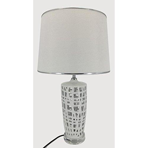 Lampe a poser en céramique hauteur 59 cm avec abat-jour diametre 35 cm E27 15W blanc liseret chrome