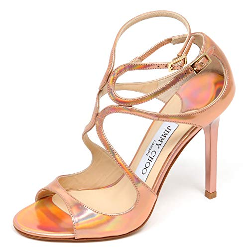 Jimmy Choo F0878 Sandalo Donna pink/Multicolor LANG Mirror Leather Shoe Woman [37.5]