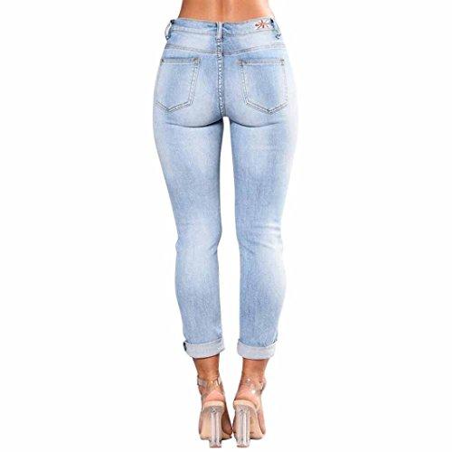 Femme Hauts Taille Jean Dechire Denim Broderie Pantalon (XXXL tour de fesse 109cm)